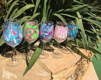 Lilly Pulitzer Monogrammed Wine Glass