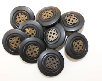 9 Vintage black and gold buttons with oriental designed center