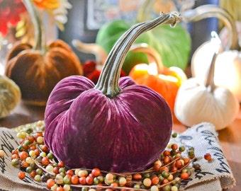 1 Large Bordeaux Silk Velvet Pumpkin, Fall Decor, Table Centerpiece, Thanksgiving, Christmas Gift, Homemade Rustic Decoration