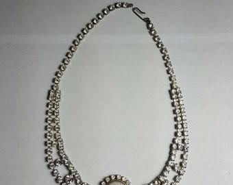 Vintage Faux Pearl Rhinestone Choker Bridal Prom Jewelry