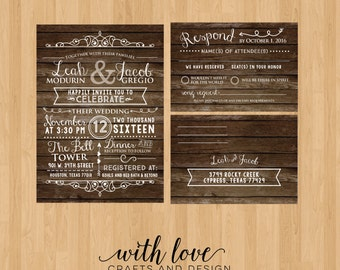 Rustic Wedding Invitation with RSVP Postcard