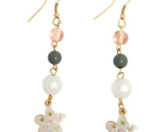 Glass Beaded Earrings with Enameled Charms SC1574