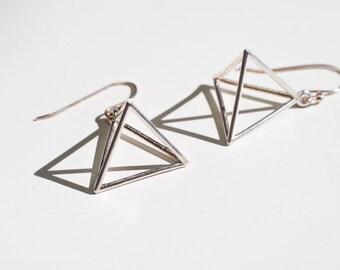 Tetrahedron Geometric Earrings