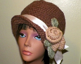 On Sale- Brown Hat Cloche Downton Abby Flapper Crochet Gatsby Bucket Womens 1920s Style