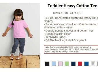 Toddler Heavy Cotton Tee, All Colors, 2T-6T