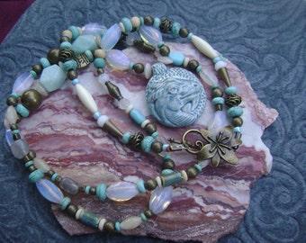 Blue Ceramic Dragon Necklace