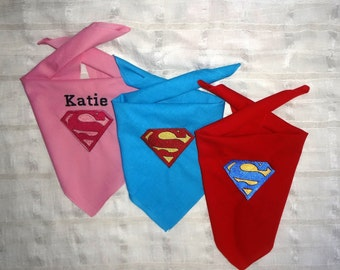 SUPERMAN and SUPERGIRL Dog Bandana in Blue, Pink & Red Cape  Personalized Available