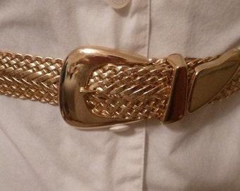 """80's Gold Basket Weave Belt 34"""""""