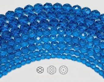 6mm (68pcs) Capri Blue, Czech Fire Polished Round Faceted Glass Beads, 16 inch strand