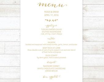 wedding menu, gold wedding menu, wedding menu printable, custom wedding menu, gold wreath wedding menu