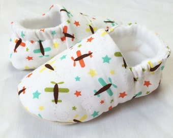 Airplanes in the starry sky.  baby boys mocc's, pre walkers, soft sole baby shoes