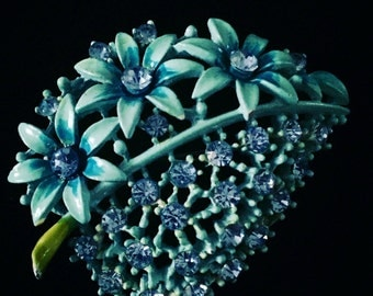 1960's french enamel turquoise spring flower brooch