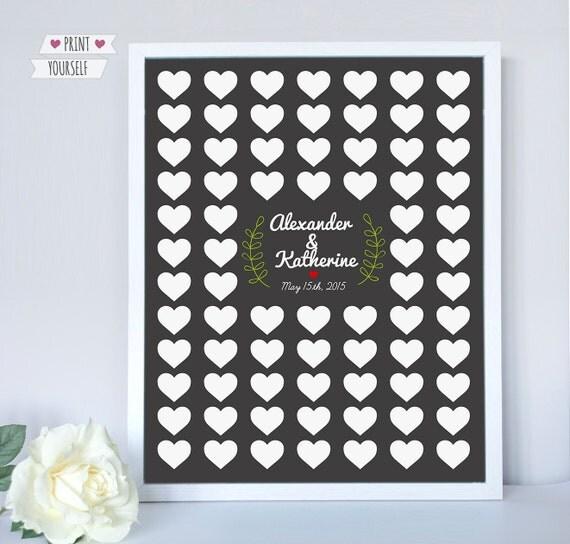 Hearts Wedding Guest Book / Printable Pdf / Unique