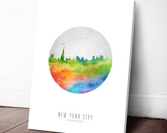 New York City Skyline Canvas Print, New York Cityscape, New York Art Print, New York Watercolor, Home Decor, Gift Idea, USNYNY20C