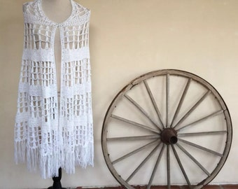 HANDMADE CAPE White Summer Knit One Size Fits Most