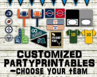 Custom Football Party Printables and Decorations - Printable - Choose Your Own Team and Colors