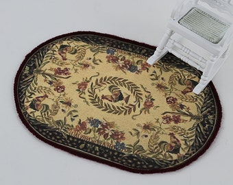 Oval Dollhouse Rug, Primitive Design with Roosters on Canvas