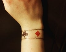 One Direction inspired playing card wrist tattoo Louis Tomlinson tattoo fake tattoo temporary tattoo