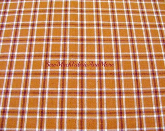 Cinnamon Pumpkin Color Homespun Plaid Fabric~by the 1/2 yard~cotton~primitives~crafts~quilting