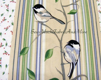 Black-capped Chickadee Birds Fabric~Berries~Ivy~by the yd~Stripes~Nature~Andover~7027~By Jamie Kalvestran