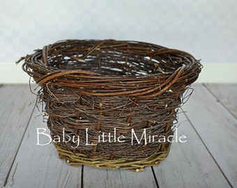 Wood Nest, Owl Nest, Wood basket,Bird Nest, Newborn Photography, Photo Prop, Basket, Newborn Nest, Newborn Prop, Photography, Vintage