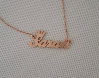 Rose gold plated name necklace Custom name Jewelry, 925 sterling silver  Handmade Jewelry, Customized name pendant