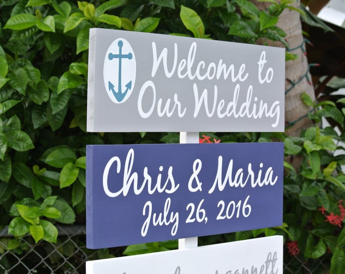 Welcome to Our Wedding Destination Beach Sign, Wedding Nautical Decor, Wood Arrow Wedding Sign