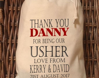 Personalised Usher Wedding Gift Bag - Various Sizes Available Danny Design