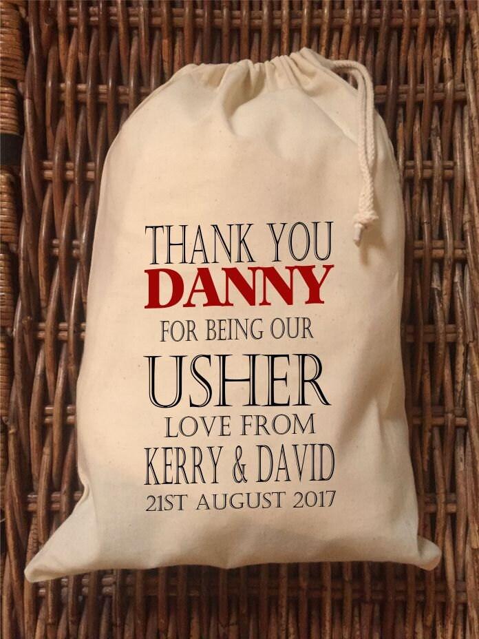 Usher Wedding Gifts: Personalised Usher Wedding Gift Bag Various Sizes Available