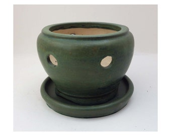 Stoneware Ceramic Orchid Pot / Planter with water tray in a green satin and matte glaze by LCCeramics