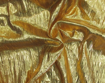 Gold Metallic Crease Crinkled Lame Fabric 44 inches width sold by the yard