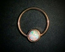 Captive Bead Ring Rose Gold with White Opal, Daith Septum Clicker Ring Earring Piercing 16g