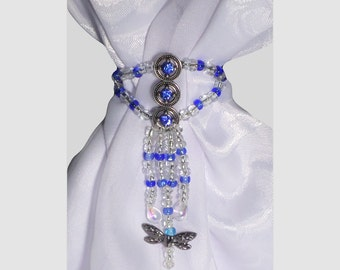 Scarf Jewelry, scarf slide, beaded scarf jewelry, beaded blue stole jewelry, blue sparkle bandanna slide, Headband slide, Headband jewelry