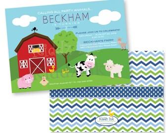 Barnyard Farm Animal Theme Printable Birthday Invitation | 5x7 with Two Sides | Customized | DIGITAL FILE for Printing