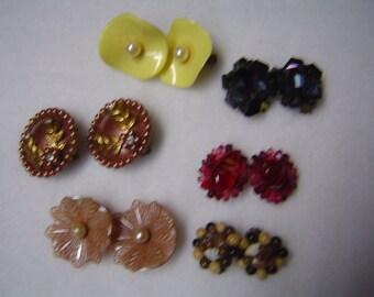 Six pair of vintage earrings
