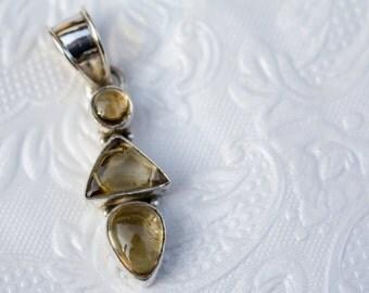 Vintage Pendant Smoky Quartz in Silver