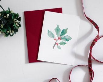 Holiday Greeting Card - Christmas Holly Card