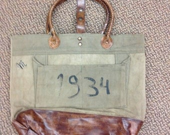 Love this Vintage look Recycled canvas and leather bag !!!!!!!!