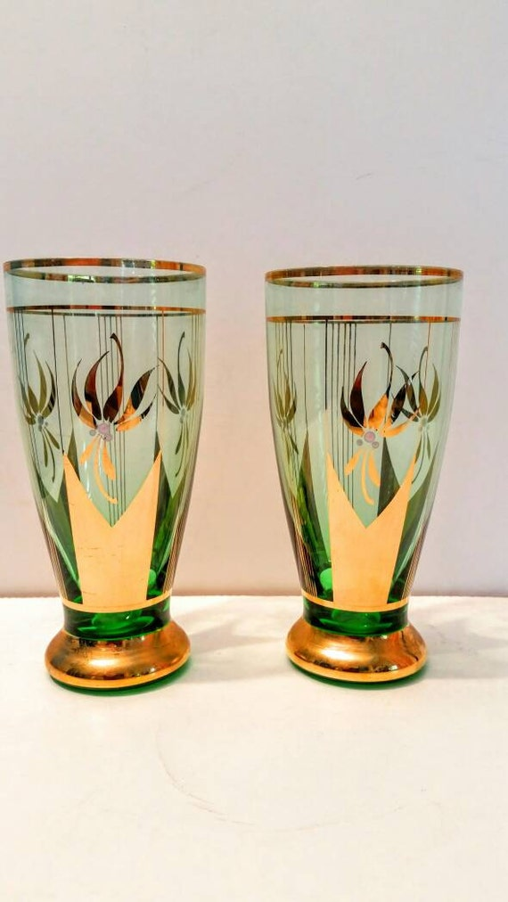 Vintage pair green and gold hand painted drinking glasses for Hand painted drinking glasses