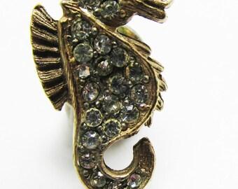 Vintage - Collectible - Rhinestone Tie Tac - Jewelry - Gold - Rhinestones - Men's - Unique - Sparkling - Handsome - Sea Horse - Gift - Small