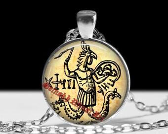 Abraxas pendant, gnostic jewelry, gnostic pendant, gnosticism, magic talisman, abraxas seal, templars, gnosis #210.2