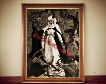 Nun and devils print, medieval illustration, occult poster, medieval decor, vintage home #292