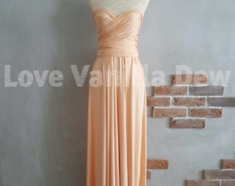 Bridesmaid Dress Infinity Dress Peach Floor Length Maxi Wrap Convertible Dress Wedding Dress
