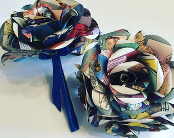 Comic book bridesmaid bouquet, paper flower bouquet, wedding bouquet, comic book bouquet, paper rose bouquet, wedding flowers