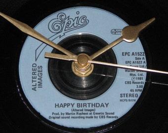 "Altered Images Happy Birthday 7"" vinyl record clock"