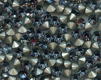 1028 SS29 SN***  12 Swarovski rhinestones point back SS29 (6,2mm) crystal silver night