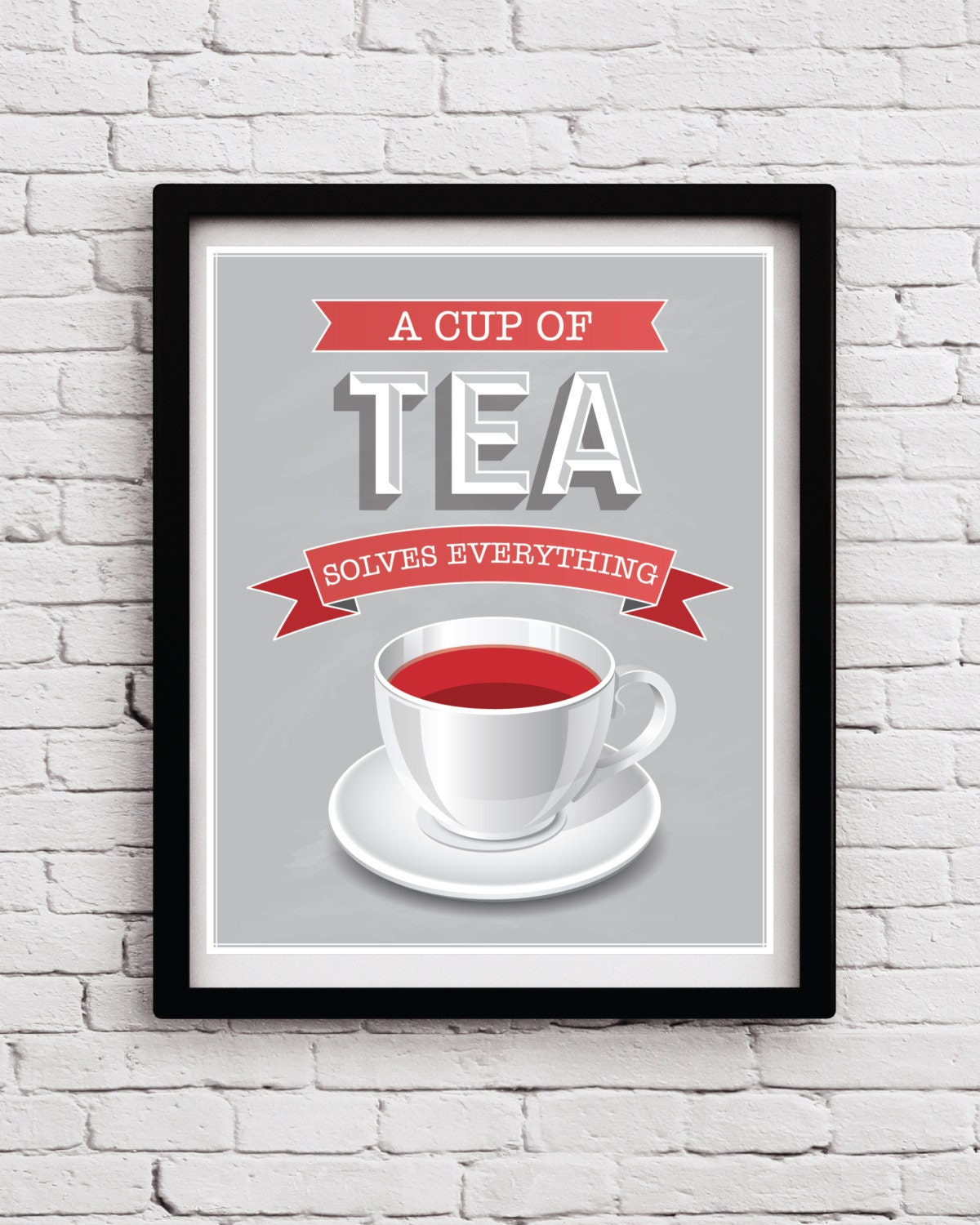 White red grey tea kitchen wall art tea kitchen decor tea for Red kitchen wall art