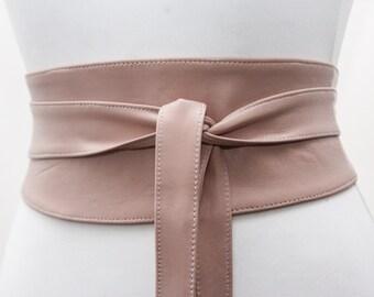 Nude Leather Obi Belt | Wedding Outfit | Bridesmaids belt | Waist Belt | Petite to Plus Size belts