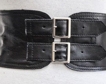 Black Corset Leather Two Silver Buckle Belt | Black Belt | Corset Waist Belt | Leather Buckle Belt | Black Leather Buckle Belt