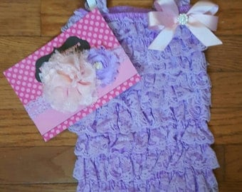 Lavender and Pink Petti Lace Romper and Headband set,Birthday,flower girl,ballerina,newbornphoto prop,infant, toddler, girl
